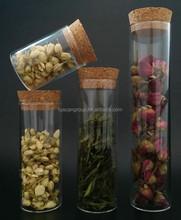 borosilicate tube jars with cork lids, various sizes