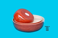 New design eco-friendly set of 3 red bamboo bowls