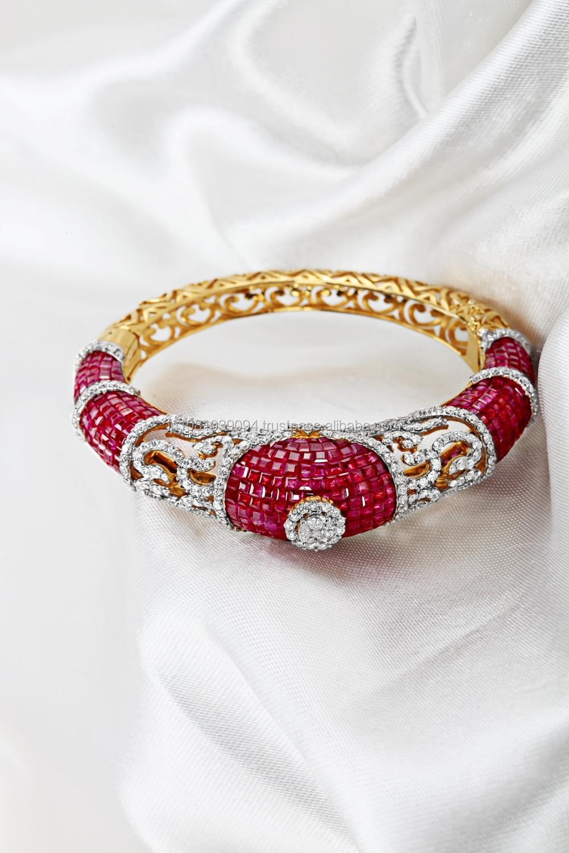 Elegant Ruby Diamond Bangle Invisible Setting