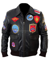 Top Gun Black Bomber Leather Jacket, Patch Bomber Jacket, Leather Bomber Jacket