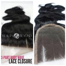 Wholesale Brazilian Virgin Human Hair 3 Part Body Wave Lace Closure