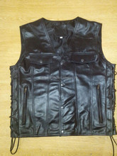 Gents Biker vest with side leather lace.
