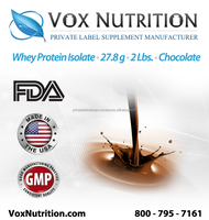Whey Protein Isolate 27.8 g.Chocolate Bulk Protein Powder Supplement - Private Label Whey Protein Isolate Powder Supplement