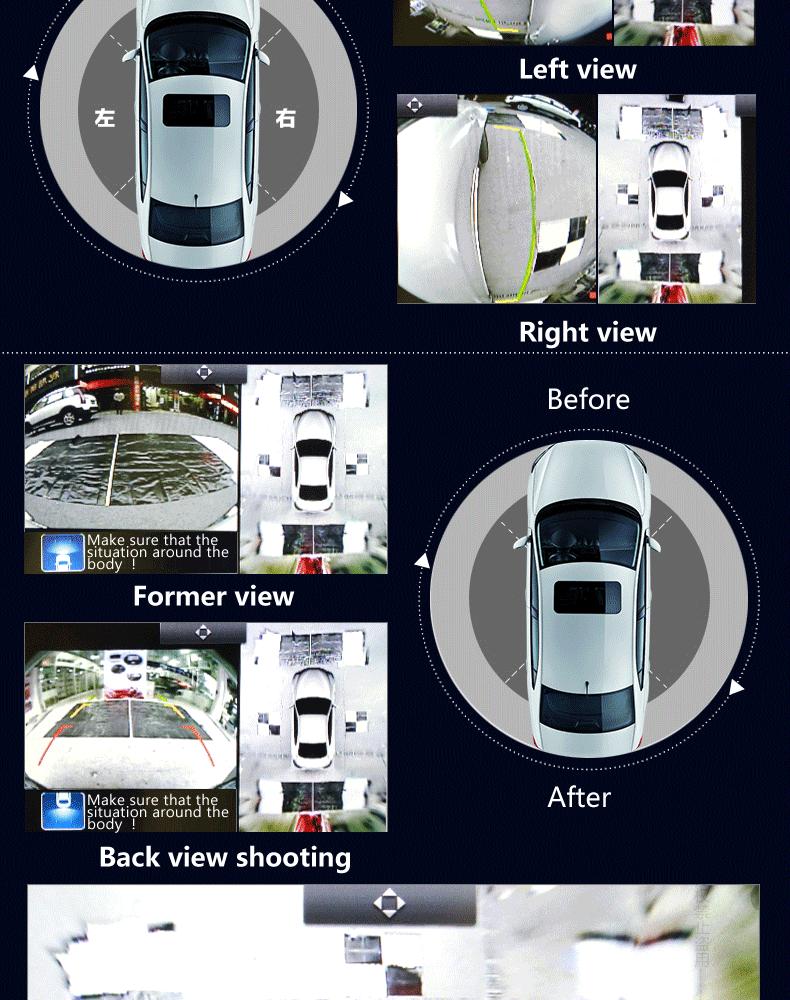 2015 최신 360 360도 카메라의 버드 뷰 시스템 자동차 주차 센서 버스 대시 Dvr 자동차 레코더