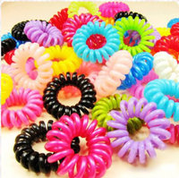 35-40mm mixed colors Plastic Phone Wire Hair Elastic