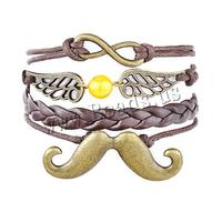 Combined Bracelet Zinc Alloy moustache & wing & with leather cord & Wax Cord with 1.9Inch extender chain antique brass color pl