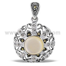 High Quality 925 Sterling Silver Natural Freshwater Pearl Marcasite Gemstones Pendant Women Fashion Jewelry