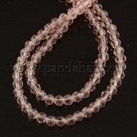 """Glass Beads Strands, Faceted, Round, Lt. Rose, about 4mm in diameter, hole: 1mm, about 100pcs/strand, 13"""""""