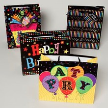 GIFT BAG PAPER 4AST BIRTHDAY BLACK W/HOTSTAMP OR GLITTER 2EA #G24752