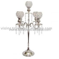 Silver Wedding Candelabra/Crystal Candelabra/5 Light Candle Holder/beautiful 5 arms candelabra with Crystal Ball Holder on sale