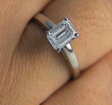 Engagement Ring 1.76ct H-VS2 Emerald cut Diamond Engagement Ring 18kt White Gold Fine Jewelry BLUERIVER47 GIA certified