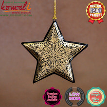 Abstract Gold Pattern Over Black Hand Painted Wooden Cut out Star christmas ornaments in bulk christmas souvenir christmas star