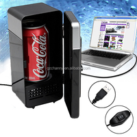 New Arrival 2 Colors Red and Black Mini USB Protable LED PC Fridge Refrigerator Drink Cans Food Cooler Warmer