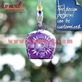 Chapa de hierro pintado a mano de color púrpura con flor blanco cencerros de diseño para hogar y jardín decoraciones