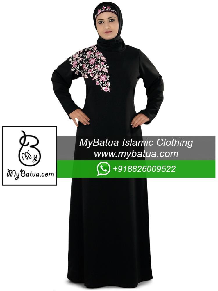 Modern muslim dress wholesale islamic hijab clothing dubai black fancy