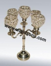 Antique flashy crystal Gold Plated Candelabra And centerpiece For Wedding Decoration