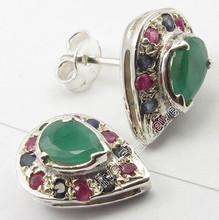.925 Silver Fancy EMERALD, RUBY & BLUE SAPPHIRE COLORFUL Stud Earrings 1.4 CM
