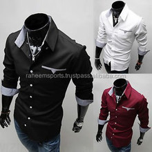 new men's contrast collar and contrast cuffs printed long sleeve dress fashion shirts