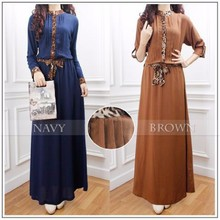 Half Button Leopard Printed Pleated Design Women Jubah Dress (With Belt)