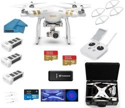 DJI Phantom 3 Professional (Pro) 4K Video Camera EVERYTHING YOU NEED Kit + 2 DJI Extra Batteries + Prop Guards + 2 SanDisk Extre