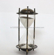 Sand timer hour glass brass antique finish