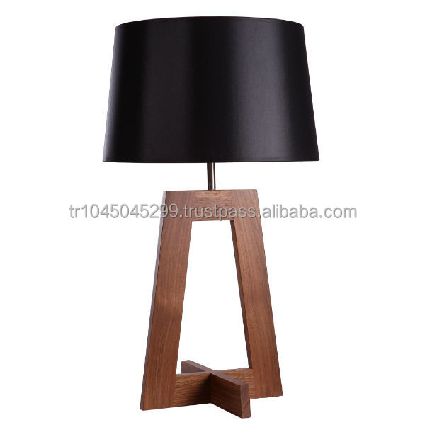 angular wood table lamp handcrafted geometric design handmade wooden lamp from natural solid. Black Bedroom Furniture Sets. Home Design Ideas