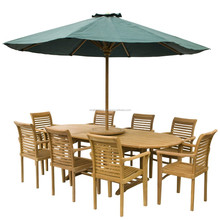 Teak Dining Table and Stacking Chairs Garden Outdoor Furniture