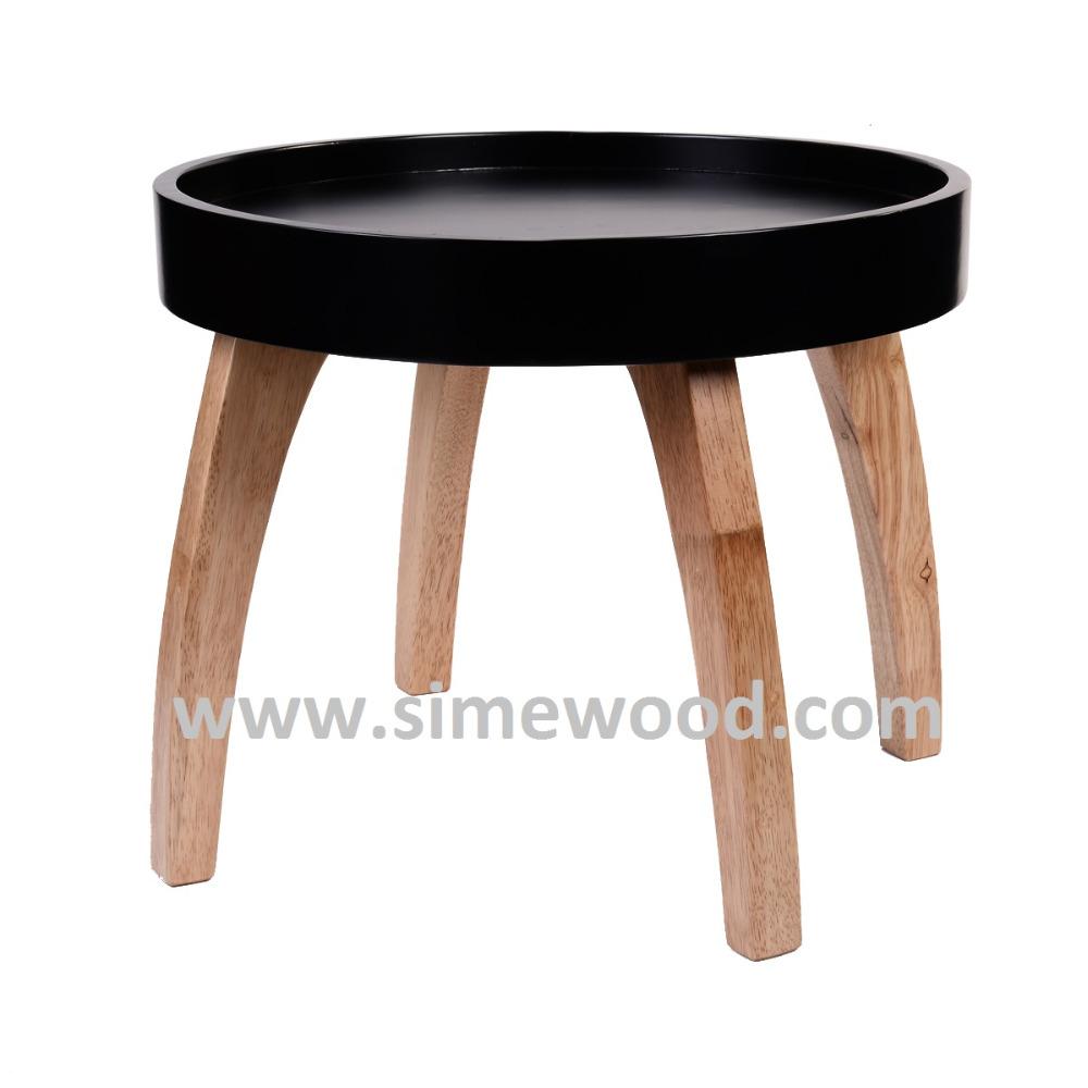 Ronde zwarte houten salontafel, woonkamer tafel, bijzettafel ...