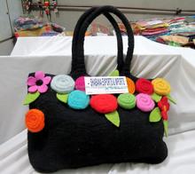 Latest Black With Beautiful Flower Hand Felt Bag Handmade wool felt bag