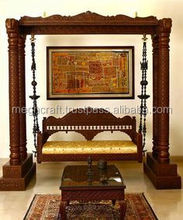 Indian Handcarved traditional intrinsic double pillar Swings Wholesale- jhoola-wooden swing