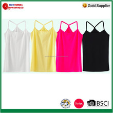 180g/m2, 95% Cotton, 5% Spandex Stretch Jersey Ladies Tank Top