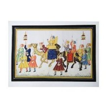 Mughal Imperial Procession Scene Painting Handmade Watercolor Wall Decor Folk Art India Gift
