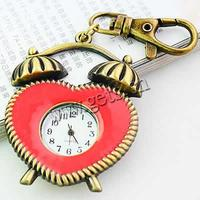 Keychain Watch Zinc Alloy Clock antique bronze color plated red 43x50mm Sold By PC