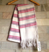 Soft cotton made turkish bathrobe and beach wrap with beautiful pink stripes multani fouta pesthemal