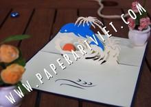 3D Pop Up tarjeta de cumpleaños de delfines en el mar