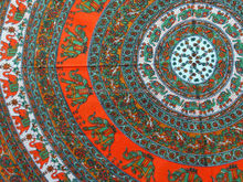 Beautiful Orange Elephant Floral Tapestry, Hippy Mandala Bed Cover, Bohemian Wall Hanging Tapestry Indian Mandala Round
