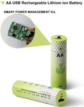 Lithium Ion Polymer rechargeable USB battery AA AAA / micro USB port