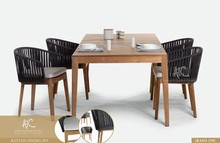 Vietnam synthetic rattan and acasia wood table and chairs outdoor furniture