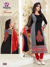 Designer printed straight long chudidar black & red party wear salwar suit