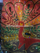 KTHB-9 Fashionable Lady Shoulder Bags Handmade Fancy Beadwork Fine Peacock Silk Zardozi Embroidery Work on Cotton From Jaipur