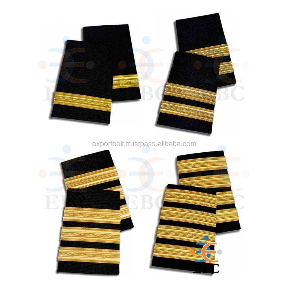 4 Bar Airline Captain Pilot//Merchant Marine Epaulette Silver Stripe Epaulettes