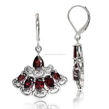 Natural Garnet 925 Sterling Silver Victorian Style Leverback Earrings