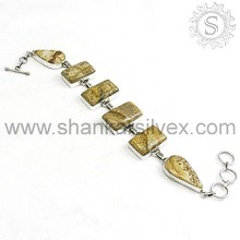Great Abstract !! Picture Jasper 925 Sterling Silver Bracelet, Exporter and Wholesaler, Silver Jewelry BRCB1073-5
