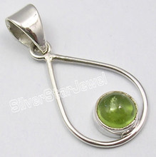 925 PURE Silver Natural GREEN PERIDOT LATEST STYLE Pendant 3.2 CM FACTORY DIRECT