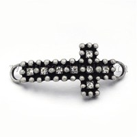 Metal Alloy Crystal Rhinestone Curved Cross 1 to 1 Links, Lead Free & Nickel Free, Antique Silver PALLOY-M123-02AS-FF
