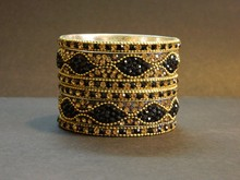 New 2015 Gold & Black Crystal Lac /Lakh bangle Jaipur traditional