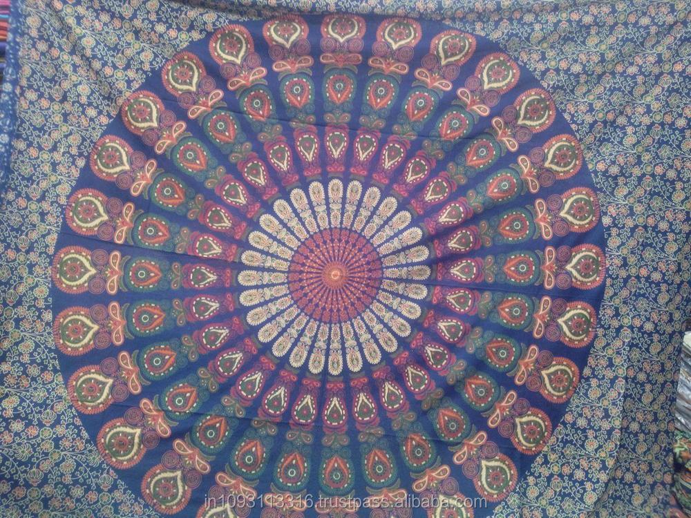 Derni res peacock mandala tapisserie floral indienne - Grand mandala ...