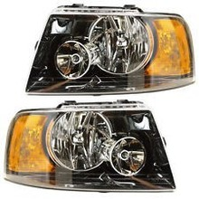 03-06 FORD EXPEDITION (BLACK HOUSING) HEADLIGHTS FRONT LAMPS PAIR SET