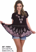 Women's Indian Apparel Short Sleeve Tunic Top Batik Style Assorted Colors AF-1004