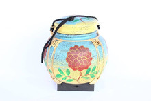 Small Hand Painted Thai Rice Box Vintage Style